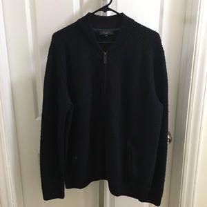 Ted Baker Dark Navy Wool Zip Sweater Sz 6 (US 44)